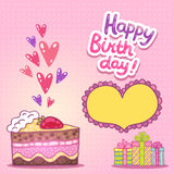 Happy Birthday card with strawberry cake Stock Images