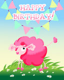 Happy birthday card with sunny meadow and pink Stock Photo