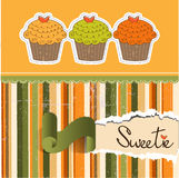 Happy Birthday card with sweet cupcake Royalty Free Stock Image