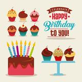 Happy birthday card. With sweet cupcake and cake with candles icon. colorful design. vector illustration Royalty Free Stock Images