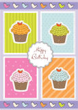 Happy Birthday card with sweet cupcakes Stock Photos