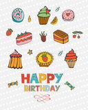 Happy birthday card with sweet dessert Stock Images