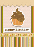 Happy Birthday card with tasteful cupcake. Vector illustration of cupcake on colorful background Royalty Free Stock Image