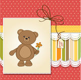 Happy birthday card with teddy bear Royalty Free Stock Photography