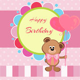 Happy birthday card with teddy bear and balloons Royalty Free Stock Images