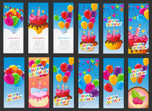 Happy Birthday Card Template with Balloons, Cake with Candle Vec. Tor Illustration EPS10 Stock Photos