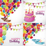 Happy Birthday Card Template with Balloons and Flags Collection Royalty Free Stock Photography