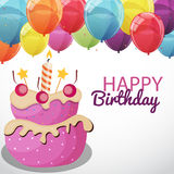 Happy Birthday Card Template with Balloons and Flags Vector Illu Stock Photos