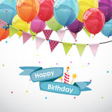Happy Birthday Card Template with Balloons and Flags Vector Illu Stock Image