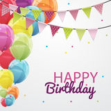 Happy Birthday Card Template with Balloons and Flags Vector Illu Royalty Free Stock Images