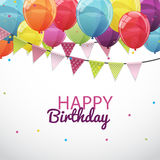 Happy Birthday Card Template with Balloons and Flags Vector Illu Stock Photo