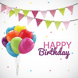 Happy Birthday Card Template with Balloons, Ribbon and Candle Ve Stock Image