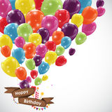 Happy Birthday Card Template with Balloons, Ribbon and Candle Ve Stock Images