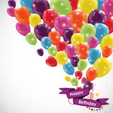 Happy Birthday Card Template with Balloons, Ribbon and Candle Ve Royalty Free Stock Photography