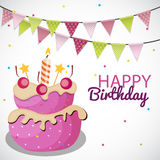 Happy Birthday Card Template with Balloons, Ribbon and Candle Ve Royalty Free Stock Photo