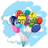 Happy Birthday card template with balloons in sky. Illustration Royalty Free Stock Image