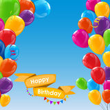 Happy Birthday Card Template with Balloons Vector Illustration Stock Photography