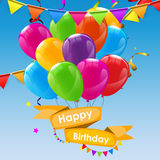Happy Birthday Card Template with Balloons Vector Illustration Stock Image