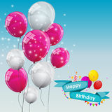 Happy Birthday Card Template with Balloons Vector Illustration Stock Photo