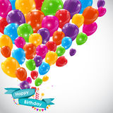 Happy Birthday Card Template with Balloons Vector Illustration Royalty Free Stock Photos