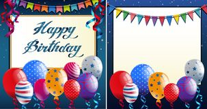 Happy Birthday card template with blue border and colorful ballo. Ons illustration Royalty Free Stock Photography