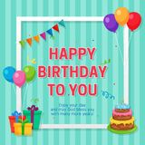 Happy Birthday Card Template with Box Frame and Party Ornament. Vector EPS10 Royalty Free Stock Photography
