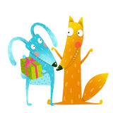 Happy birthday card template with bunny and fox characters Royalty Free Stock Photo