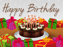 Happy Birthday card template with cake and presents. Illustration stock illustration