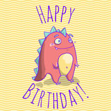 Happy Birthday card template for children with funny dinosaur character. Stock Image