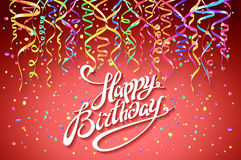 Happy Birthday card template, confetti. Holiday background. Top view. sign design with colorful confetti vector party on pink. Background top view art Royalty Free Stock Photo