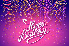 Happy Birthday card template, confetti. Holiday background. Top view. sign design with colorful confetti vector party on pink back Stock Image