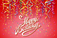 Happy Birthday card template, confetti. Holiday background. Top view. sign design with colorful confetti vector party on pink back. Ground top view art Stock Image