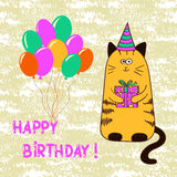Happy birthday card template with cute cat. Royalty Free Stock Photo