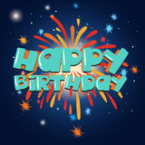 Happy birthday card template with firework in background. Illustration Stock Photos
