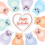 Happy birthday card template, funny green blue pink orange fat cats, pastel colors on white background. Vector Royalty Free Stock Photo