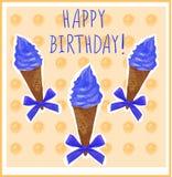 Happy birthday. Card template with hand-sketched ice cream cone. Blur cream. Orange background. Happy birthday. Card template with hand-sketched ice cream cone Stock Photography