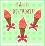 Happy birthday. Card template with hand-sketched ice cream cone. Red cream. Green background. Stock Images
