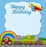 Happy birthday card template. Illustration royalty free illustration