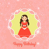 Happy Birthday card template with princess Stock Photo