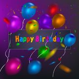 Happy Birthday card template with a purple background and colorful balloons. Vector eps 10 format. Royalty Free Stock Images