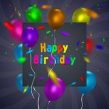 Happy Birthday card template with a purple background and colorful balloons. Vector eps 10 format. Royalty Free Stock Image