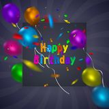 Happy Birthday card template with a purple background and colorful balloons. Vector eps 10 format. Stock Photography