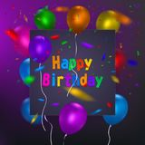 Happy Birthday card template with a purple background and colorful balloons. Vector eps 10 format. Royalty Free Stock Photo