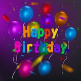 Happy Birthday card template with a purple background and colorful balloons. Vector eps 10 format. Stock Photos