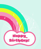 Happy birthday card. Happy birthday template. It reads happy birthday!, it features a cloud with a rainbow Stock Images