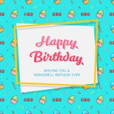 Happy Birthday Card Template with Seamless Birthday Pattern. Vector EPS10 Royalty Free Stock Image