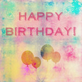Happy birthday card. Happy birthday template with trendy artsy texture and balloons Stock Images
