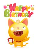 Happy Birthday card template with yellow emoji cat character. Vector illustration Stock Photos