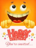 Happy birthday card template with yellow smiley face emoticon background. Royalty Free Stock Image