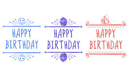 `Happy birthday` card templates with hand-drawn elements: smile, cupcake, thumb up. Purple, red and blue Royalty Free Stock Images